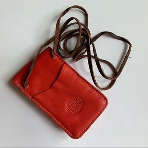 Roots Small Pouch Crossbody Leather Red